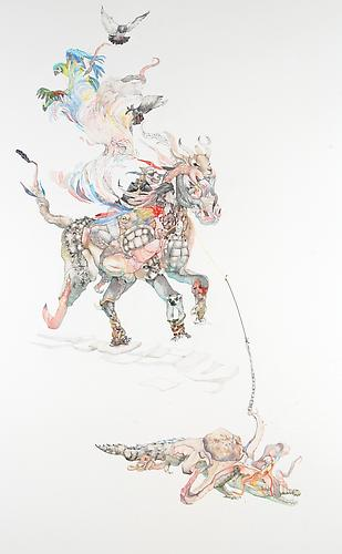 Laura Ball, War Horse and Rider (2011) Watercolor On Paper 40h x 26w in (101.6h x 66.04w cm)