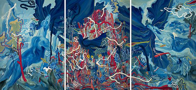 JAMES JEAN Hounds, 2010 Acrylic and oil on canvas 72 x 150 inches