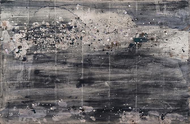 Nancy Lorenz, Night Sky I (2012) Burnished Silver Leaf, Mother Of Pearl Inlay, Pigment On Panel 22h x 34w in (55.88h x 86.36w cm)