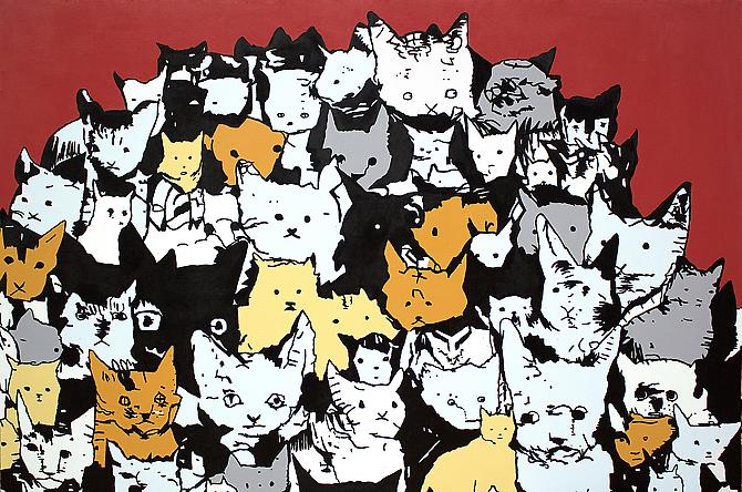 Cat Mountain, 2012 Acrylic and Enamel on Canvas over Panel, 48 x 72 inches.