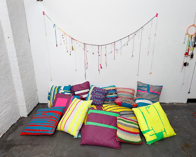Charm Bracelet  and  Pillows  installation view
