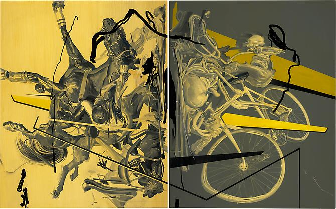 Collision, 2010  Acrylic & Oil on Two Canvases  60 x 96 inches