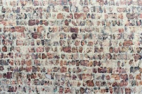 Travis Childers Conflict (detail), 2011. Images of faces from newspapers, all involving a story of a conflict, lifted off with masking tape on canvas, gel medium, 48 x 48 inches.