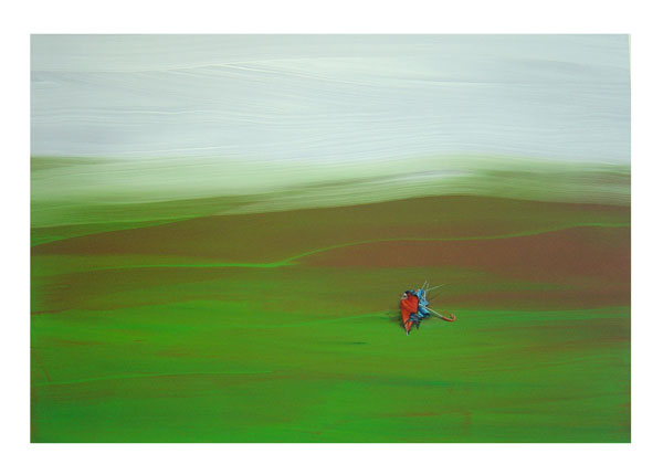 Marti Cormand, Umbrella (red on green), 2009 oil on paper,	 16 x 22 inches