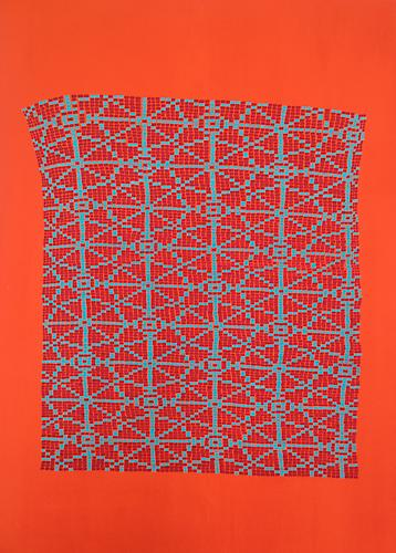 Red and Blue India Stars, 2014 Gouache on paper  30 x 22 inches 76.2 x 55.9 cm