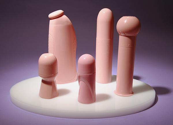 Still Life  (Cosmetic Bottles), 2009 Casts made from cosmetic bottles. Rubber and pigment 12 x 18 inches