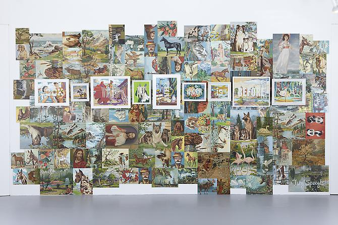 Look With Wonder At That Which Is Before You, 2011. Installation with vintage paint by number panels, 96 x 192 inches.