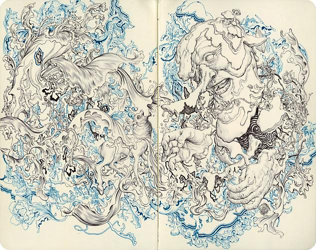JAMES JEAN Mole E, 2010 Ink on paper 9 X 10 inches