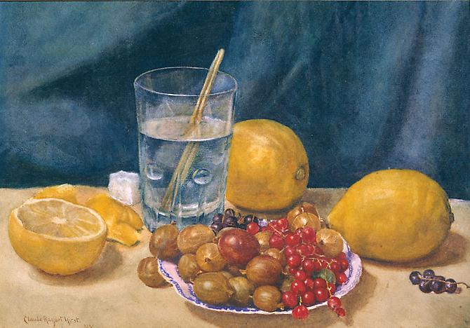 Still Life: Lemons, Currants and Gooseberries  Watercolor on paper, 7-3/4 x 11-13/16 inches