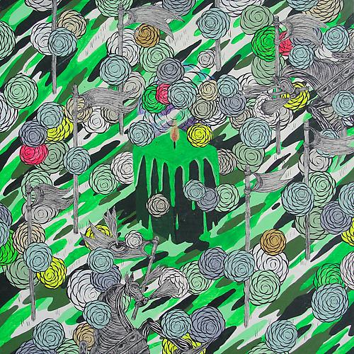 Andrew Schoultz, Melting Candle (Green) (2010/2011) Acrylic On Wood Panel 14h x 14w in (35.56h x 35.56w cm)