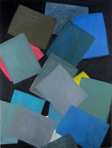 Paper at Night (two grey, two blue), 2008 Oil on linen 40 x 32 in.