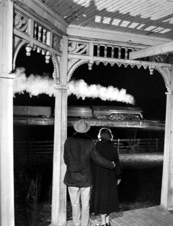 Mr. & Mrs. Ben Franklin Pope Bid Farewell to Class J Pulls, the Last Steam Train to Bristol December 31, 1957 gelatin silver contact print