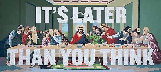 It's Later than You Think, 2010. Archival pigment and acrylic on canvas, 104 x 232 inches.