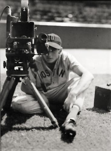Ted Williams and Movie Camera not dated gelatin silver print