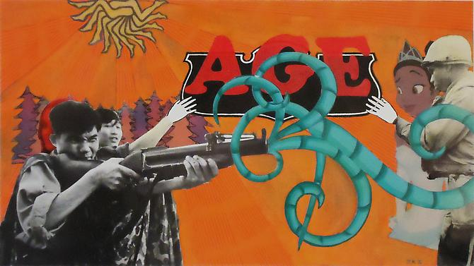 Justin Irvin Fun Ammunition, 2010. Mixed media collage, 5 3/4 x 10 1/4 inches.