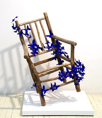 Paul Villinski, Repose (2012) Wooden Chair, Aluminum (found Cans), Wire, Flashe 38h x 26w x 24d in (96.52h x 66.04w x 60.96d cm)