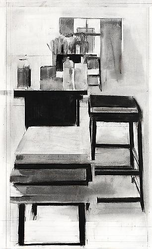 Studio 1, 2004 Charcoal on paper 39 x 24 inches