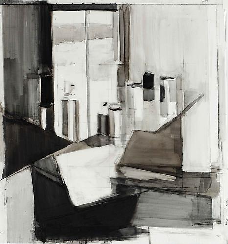 Studio #11, 2012 Ink and charcoal on mylar 28 1/2 x 26 1/2 inches