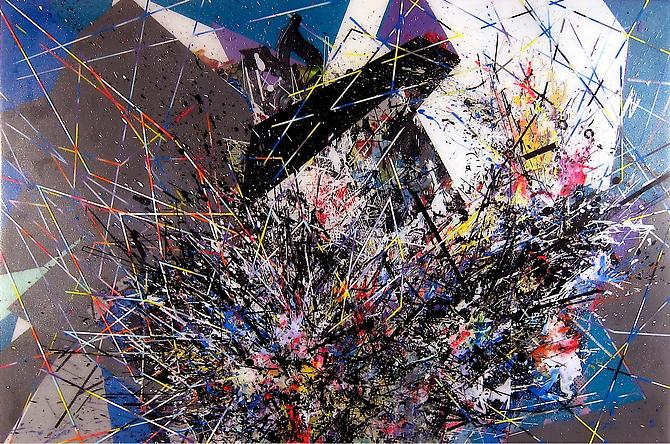 Drudge, 2011 mixed media on panel 23 1/2 x 35 1/2 inches