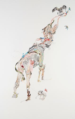 Laura Ball, Reach (2011) Watercolor On Paper 40h x 26w in (101.6h x 66.04w cm)