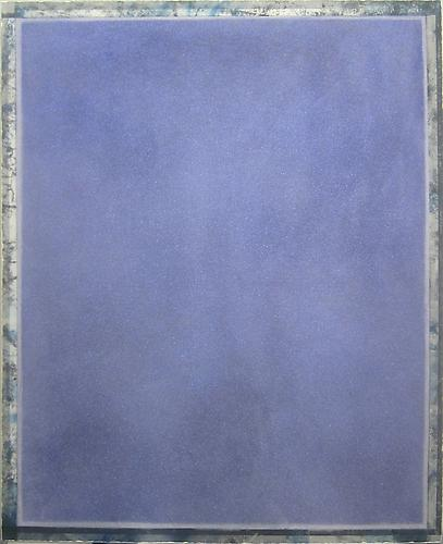 Ryan Wallace, Tablet (Blue) (2012) Oil, Enamel, Acrylic, Crystalina, Mylar On Canvas 60h x 48w in (152.4h x 121.92w cm)