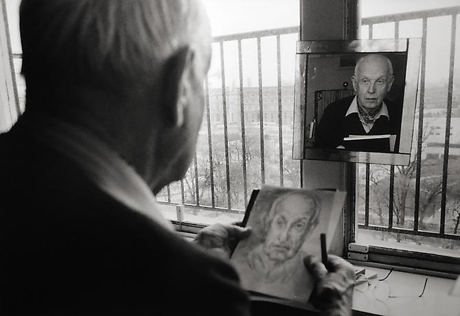 Henri Cartier-Bresson Drawing His Self-Portrait, Paris, France 1992 printed 2005 gelatin silver print