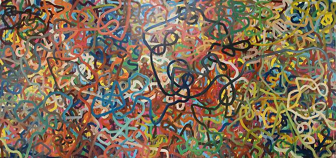 Jeff Perrott, Nothing Doing (2009) Oil And Enamel On Canvas 96h x 202w in (243.84h x 513.08w cm