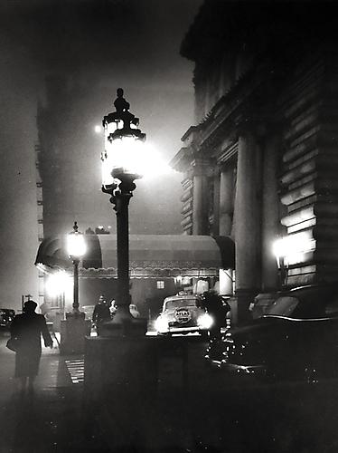 Foggy Night in San Francisco's Nob Hill, Entrance to the Fairmont Hotel circa 1950's vintage gelatin silver print