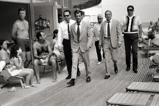 Frank Sinatra with His Stand-in and Bodyguards Arriving on Location, Miami Beach 1968 gelatin silver print