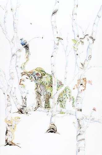 Laura Ball, Collecting (2013) Watercolor And Graphite  On Paper 40h x 26w in (101.6h x 66.04w cm)