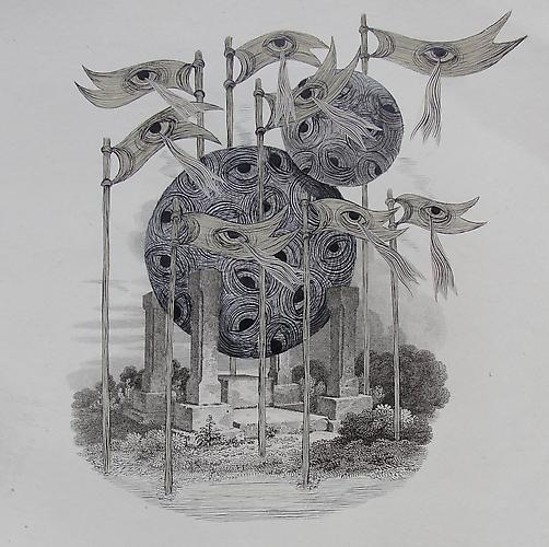 Andrew Schoultz, Unbalanced Monument (1762-2011) Acrylic On Antique Copper Plate Etching 16h x 12w in (40.64h x 30.48w cm)
