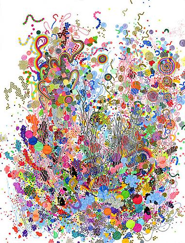 Elementary Particles, 2011 Felt-tip pen on paper 26 x 34 inches