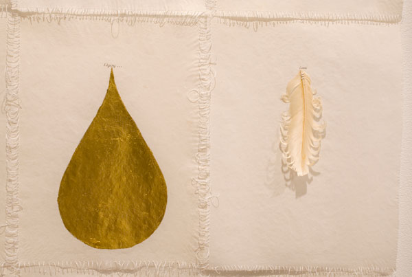 Elena del Rivero, Somosi Series-Flying Letter #3 (detail), 2009 ink, oil, gold leaf, feathers on abaca paper 32 x 25 inches