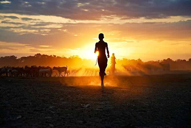 Running at Sunset, Ethiopia 2012 C-type print on Fuji Crystal Archive paper