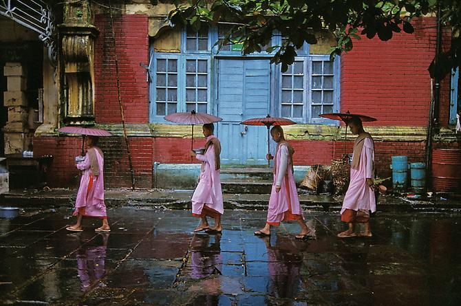 Steve McCurry.  Procession of Nuns,  Yangon, Burma,  1994.