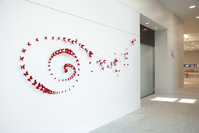 Paul Villinski, Wander, Site specific installation:  Houston, TX  (2009) Aluminum (found Cans), Wire, Lead, Flashe  Installation Dimensions Variable