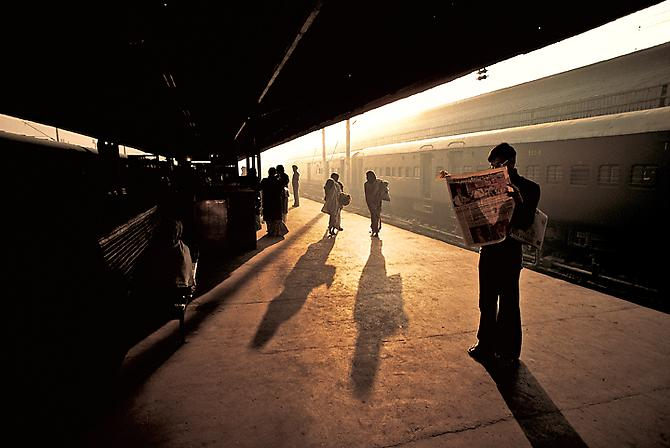 Train Platform at Old Delhi, India 1983 C-type print on Fuji Crystal Archive paper