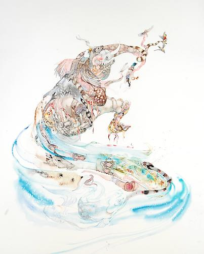 Laura Ball, Aphrodite (2011) Watercolor On Paper 40h x 29w in (101.6h x 73.66w cm)