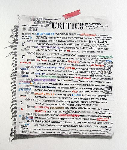 William Powhida: An Incomplete And Biased Guide To Some Critics (2011) Graphite, Colored Pencil, And Watercolor On Paper 18.75h x 14.75w in (47.63h x 37.47w cm)