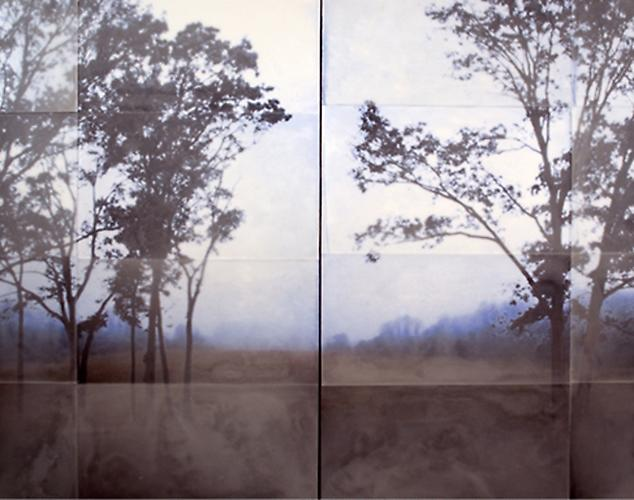 Far Away and Blue, 2010 encaustic on archival print mounted on wood 48 x 60 inches (diptych)