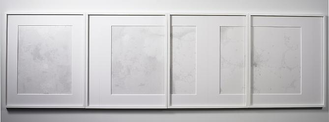 Fast Viewer, 2007 Pencil on yupo 4 panels, 27.25 x 92 inches