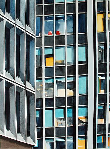 Concrete and Glass Midtown East (NYC) (2013) Watercolor On Paper 30h x 22w in (76.2h x 55.88w cm)