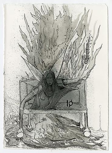 Max Razdow  Fire 7 , 2012 Pen and ink on paper 7 x 9 inches