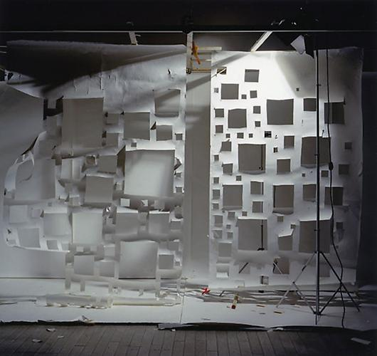 "No. 533, ""Holes in White and Holes in White on Right with Light from Right"", 2005 Color Photograph 72 x 76 in.  182 x 193 cm."