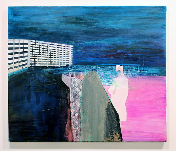 Head Case Miami , 2010 Silkscreen, oil on canvas 36 x 42 inches