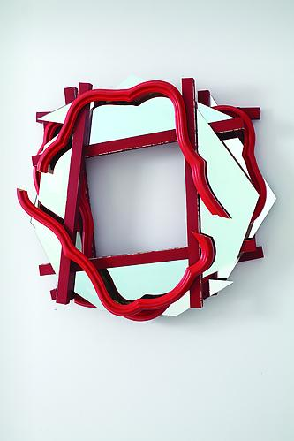 Heather Rowe Carmine Mirror (for the Little House), 2011 wood, wallpaper, mirror, frames 26 x 28 x 7 inches