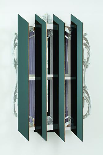 Heather Rowe Cold Night, 2011 black mirror, wood, wallpaper, mirror, frames 54 x 36 x 14 inches