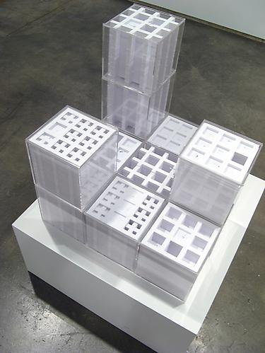 Each cube, 8 x 8 x 8 inches