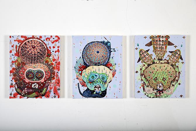 Ashes, Pollens,  &  Dirts , 2012 Acrylic on panel & cut out paper Installation shot, 10 x 8 inches each