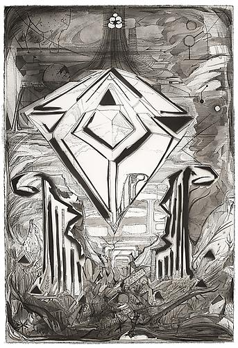 Max Razdow  Interlude 3 (ruin / crystal) , 2012 Pen, ink, gesso on paper 22 x 15 inches